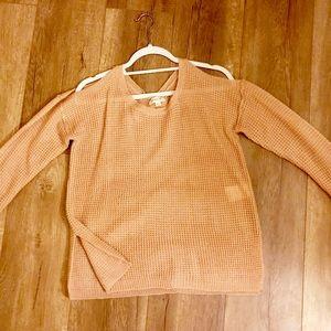 Tilly's Light Pink Cold-Shoulder Sweater